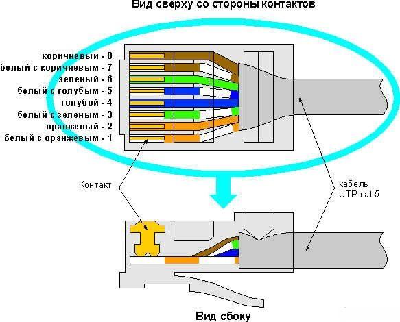 схему обжима EIA/TIA-568B: